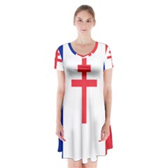 Flag Of Free France (1940 1944) Short Sleeve V Neck Flare Dress by abbeyz71
