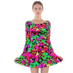 Colorful Leaves Long Sleeve Skater Dress by Costasonlineshop