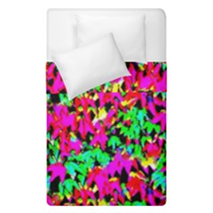 Colorful Leaves Duvet Cover Double Side (single Size) by Costasonlineshop