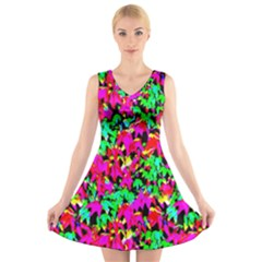 Colorful Leaves V Neck Sleeveless Skater Dress by Costasonlineshop