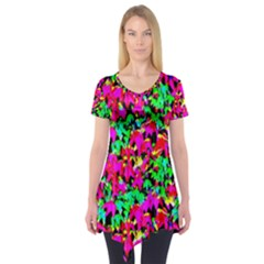 Colorful Leaves Short Sleeve Tunic  by Costasonlineshop