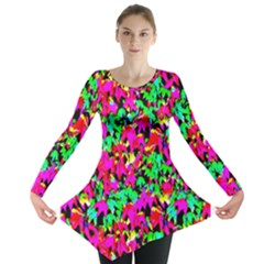Colorful Leaves Long Sleeve Tunic  by Costasonlineshop