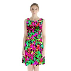 Colorful Leaves Sleeveless Waist Tie Chiffon Dress by Costasonlineshop