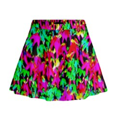 Colorful Leaves Mini Flare Skirt by Costasonlineshop