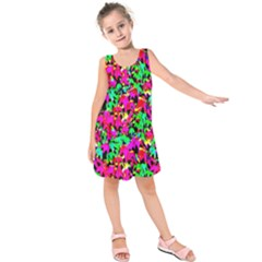 Colorful Leaves Kids  Sleeveless Dress by Costasonlineshop