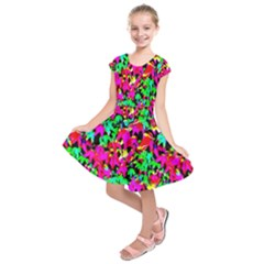 Colorful Leaves Kids  Short Sleeve Dress by Costasonlineshop