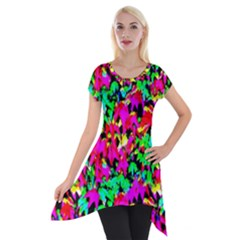 Colorful Leaves Short Sleeve Side Drop Tunic by Costasonlineshop