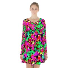 Colorful Leaves Long Sleeve Velvet V Neck Dress by Costasonlineshop