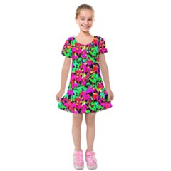 Colorful Leaves Kids  Short Sleeve Velvet Dress by Costasonlineshop