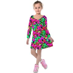 Colorful Leaves Kids  Long Sleeve Velvet Dress by Costasonlineshop