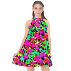 Colorful Leaves Halter Neckline Chiffon Dress  by Costasonlineshop