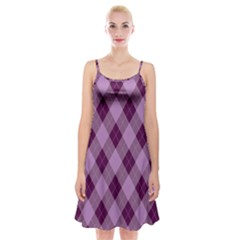 Plaid Pattern Spaghetti Strap Velvet Dress
