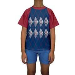 Diamonds And Lasers Argyle  Kids  Short Sleeve Swimwear by emilyzragz
