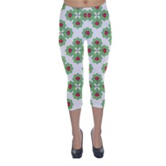 Floral Collage Pattern Capri Winter Leggings  by dflcprintsclothing