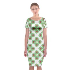 Floral Collage Pattern Classic Short Sleeve Midi Dress by dflcprintsclothing