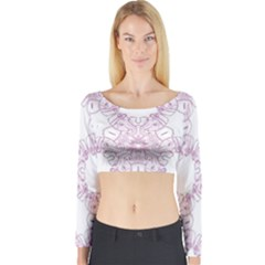 Ganja Ganesh Pattern (pink) Long Sleeve Crop Top by getstonedinstyle