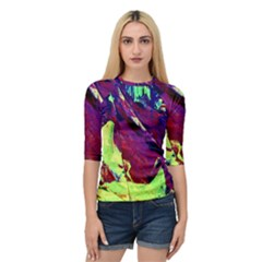 Abstract Painting ,blue,yellow,red,green Quarter Sleeve Tee by Costasonlineshop