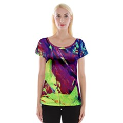 Abstract Painting ,blue,yellow,red,green Women s Cap Sleeve Top