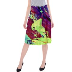 Abstract Painting ,blue,yellow,red,green Midi Beach Skirt by Costasonlineshop