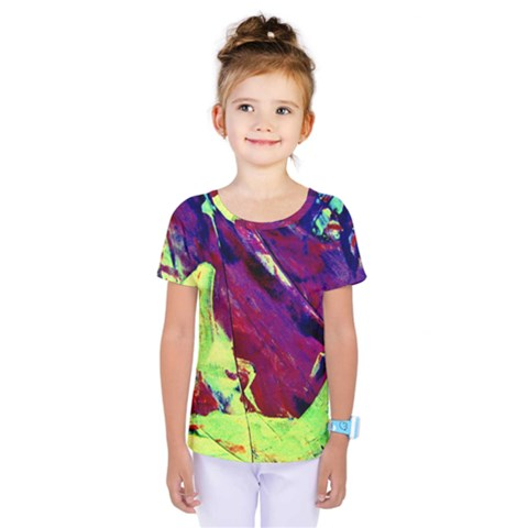 Abstract Painting ,blue,yellow,red,green Kids  One Piece Tee by Costasonlineshop
