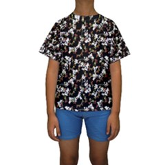 Dark Chinoiserie Floral Collage Pattern Kids  Short Sleeve Swimwear by dflcprintsclothing