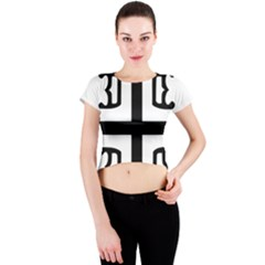 Serbian Cross Crew Neck Crop Top by abbeyz71