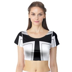 Cross Of The Teutonic Order Short Sleeve Crop Top (tight Fit) by abbeyz71