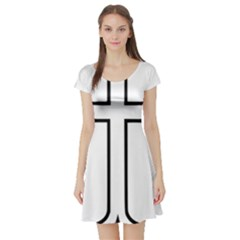 Western Syriac Cross Short Sleeve Skater Dress