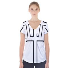 Western Syriac Cross Short Sleeve Front Detail Top