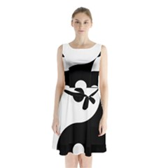 Yin & Yang Sleeveless Waist Tie Chiffon Dress by abbeyz71