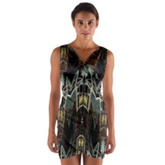 Urban Industrial Rust Grunge Wrap Front Bodycon Dress