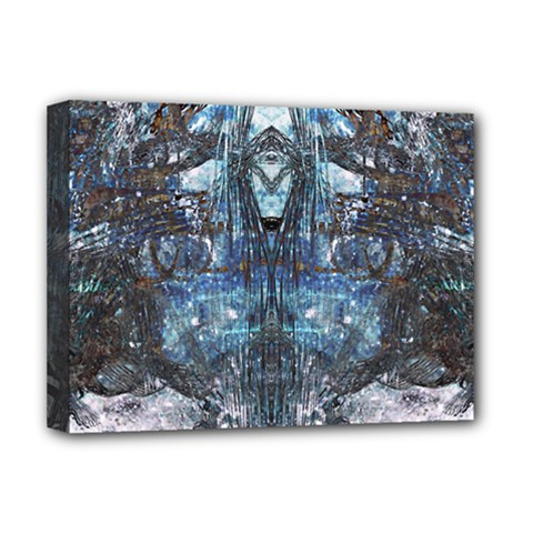 Angel Wings Blue Grunge Texture Deluxe Canvas 16  X 12   by CrypticFragmentsDesign