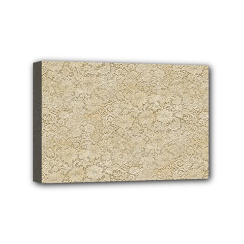 Old Floral Crochet Lace Pattern Beige Bleached Mini Canvas 6  X 4  by EDDArt