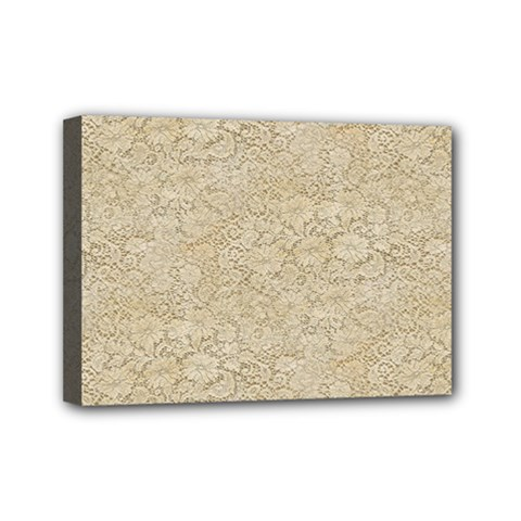 Old Floral Crochet Lace Pattern Beige Bleached Mini Canvas 7  X 5  by EDDArt