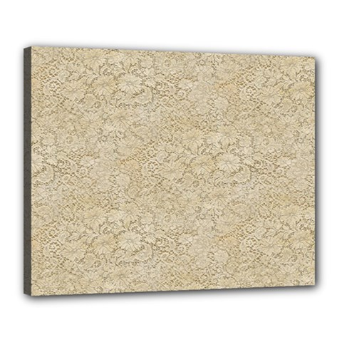 Old Floral Crochet Lace Pattern Beige Bleached Canvas 20  X 16  by EDDArt