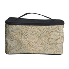 Old Floral Crochet Lace Pattern Beige Bleached Cosmetic Storage Case by EDDArt
