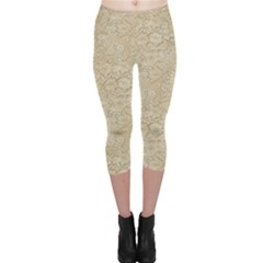 Old Floral Crochet Lace Pattern Beige Bleached Capri Leggings  by EDDArt