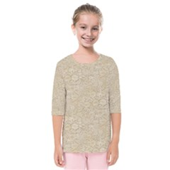 Old Floral Crochet Lace Pattern Beige Bleached Kids  Quarter Sleeve Raglan Tee by EDDArt