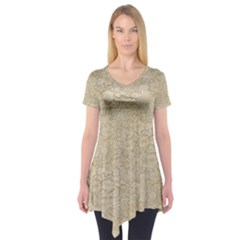Old Floral Crochet Lace Pattern Beige Bleached Short Sleeve Tunic  by EDDArt