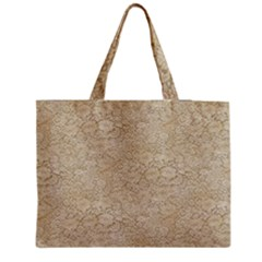 Old Floral Crochet Lace Pattern Beige Bleached Medium Zipper Tote Bag