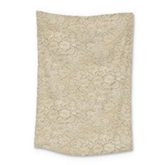Old Floral Crochet Lace Pattern Beige Bleached Small Tapestry by EDDArt