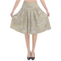 Old Floral Crochet Lace Pattern Beige Bleached Flared Midi Skirt