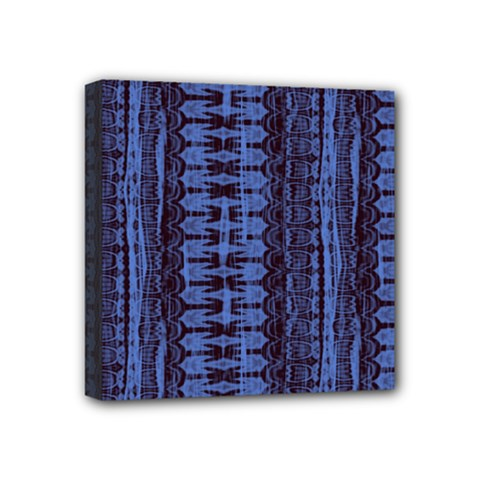 Wrinkly Batik Pattern   Blue Black Mini Canvas 4  X 4  by EDDArt