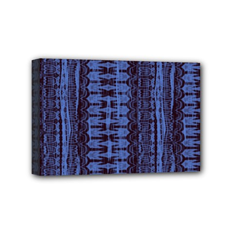 Wrinkly Batik Pattern   Blue Black Mini Canvas 6  X 4  by EDDArt