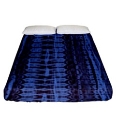 Wrinkly Batik Pattern   Blue Black Fitted Sheet (king Size) by EDDArt