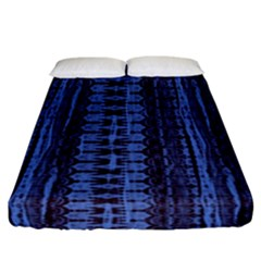 Wrinkly Batik Pattern   Blue Black Fitted Sheet (california King Size) by EDDArt