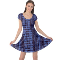Wrinkly Batik Pattern   Blue Black Cap Sleeve Dresses