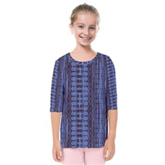 Wrinkly Batik Pattern   Blue Black Kids  Quarter Sleeve Raglan Tee