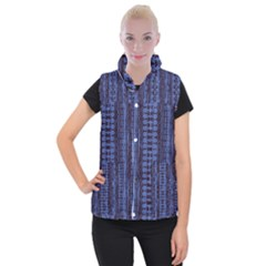Wrinkly Batik Pattern   Blue Black Women s Button Up Puffer Vest by EDDArt