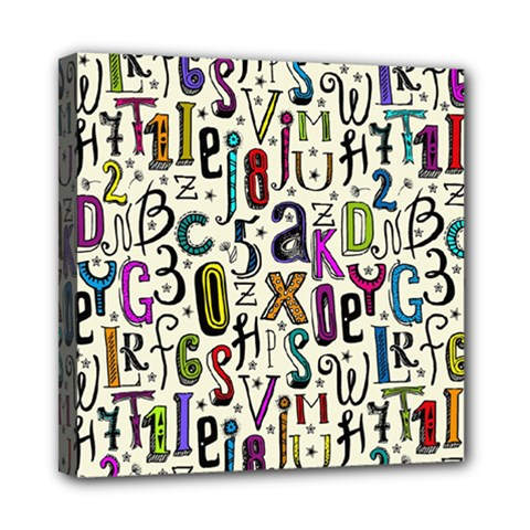 Colorful Retro Style Letters Numbers Stars Mini Canvas 8  X 8  by EDDArt